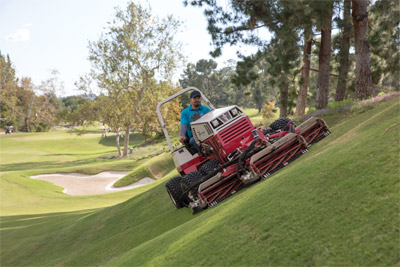 Ventrac 4500P with Dual Wheels Slope Mowing with MJ740 - The Ventrac 4500P with optional dual wheels can operate continuously on slopes of 30 degrees even while using the precise cut of the Reel Mower.