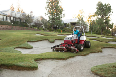 Ventrac 4500 Splitting Sand Bunkers with the Reel Mower - Golf course maintenance is much more simplified and precise with the Ventrac 4500 and the Reel Mower.