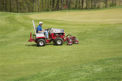 Ventrac 4500 with MJ740 Reel Mower Finish Decks - Shown here with optional 3-point kit installed.