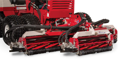 "Ventrac MR740 Reel Mower Closeup - The Ventrac MR740 Triplex Reel Mower is designed to be the ultimate trim and surround mower. With a 74"" width of cut, variable speed hydraulics, standard back lapping valves, and offset capability, the Ventrac MR740 includes many features to ensure superior, low-maintenance powered by the all-wheel performance."