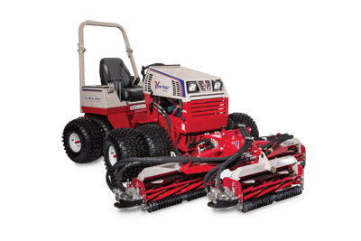 Ventrac MR740 Reel Mower on 4500Y - When powered by the all-wheel drive Ventrac 4500 tractor with dual wheels, the MR740 can be operated on hills and slopes up to 30 degrees -- allowing you to go where no other reel mower can go. You will be amazed at the time and labor you'll save, and the beauty you'll leave behind.