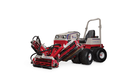Ventrac MR740 Reel Mower with Sides Lifted - The reels can be offset right and left of center to allow for better trimming around tight turns, and to position the tractor farther from hazards such as water or bunkers for increased safety.