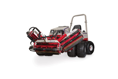 Ventrac MR740 Reel Mower raised to full height - When powered by the all-wheel drive Ventrac 4500 tractor with dual wheels, the MR740 can be operated on hills and slopes up to 30 degrees -- allowing you to go where no other reel mower can go.
