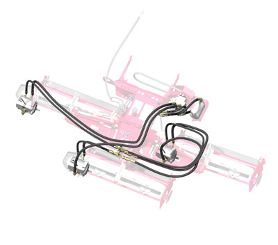 Ventrac MR740 Reel Mower Diagram Hose Layout - Highlight of the configuration of the hydraulic hoses for the MJ740 Mower.