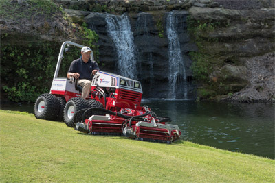 Ventrac 4500Z Precision Mowing with Reel Mower - Confidently mow around waterways and other obstacles with the all-wheel drive, center articulating 4500 while the Reel Mower leaves behind nothing but beautiful lawn.