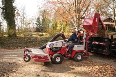 Ventrac 4500 Moving Leaves with the RV602 - A 16 cubic foot capacity bin allows you to really pack the leaves getting the job done in less time.