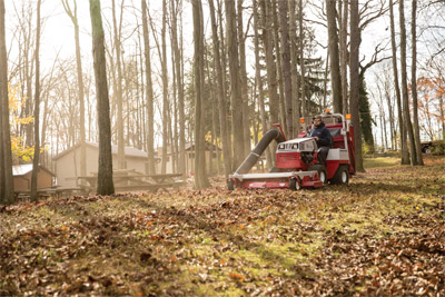 Ventrac 4500 Handles Fall with the RV602 - The Vacuum System for the Ventrac 4500 makes light and even fun work out of fall leave gathering.