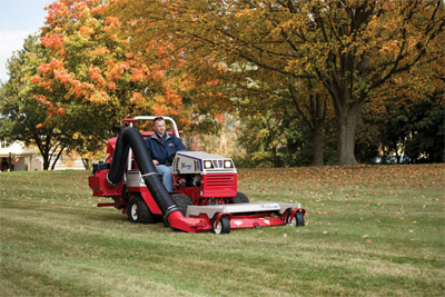 Ventrac 4500 Mowing and Vacuuming at Once - With the RV602 Vacuum System you can mow grass and clear the turf of clippings and leaves at the same time.