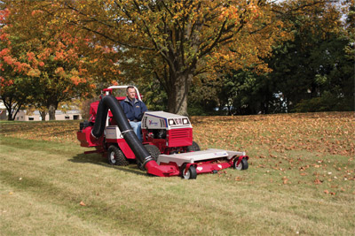 Ventrac 4500 Mowing and Leaf Collecting - Ventrac's powerful mowing deck and vacuum working together to make your yard look its best no matter what season.