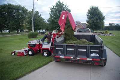Ventrac 4500 and RV602 Vacuum Collection - The collection bin for the RV602 Vacuum System is capable of holding 16 cubic feet of materials meaning fewer trips to the trailer, saving you time.