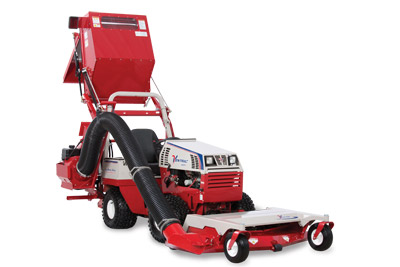 Ventrac 4500 with RV602 Vacuum Fully Raised - Collection Bin raises to five feet to allow to empty into trailers.