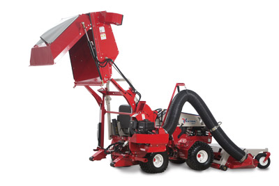 Ventrac 4500 with RV602 Vacuum System Raised Rear View - Hydraulic lift and dump up up five feet