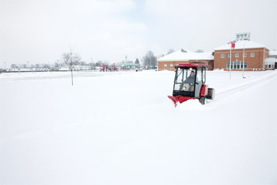 Ventrac 3400Y working with V-Blade - The small but powerful Ventrac 3400 is capable of moving some serious snow especially when equipped with the V-Blade.