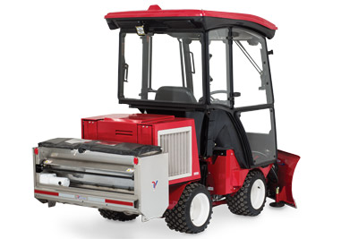 "Ventrac 3400 Rear View Right Snow Setup - Designed with a narrow frame and a 40"" drop pattern, this spreader is ideal for spreading material on sidewalks and other narrow walkways."
