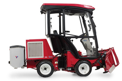 Ventrac 3400Y Diesel with Complete Snow Package right side - Shown here with the V-Blade, Heated Cab, and the Drop Spreader