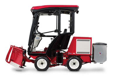 Ventrac 3400Y Diesel with Complete Snow Package - Shown here with the V-Blade, Heated Cab, and the Drop Spreader