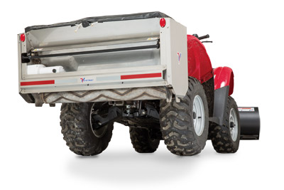 SA250 Spreader Mounted on ATV Bottom View - Built to be used with many types of vehicles