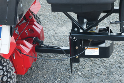 SS575 Spreader Attached - Closeup of hitch assembly for the SS575 Spreader