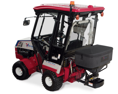 KW450 Cab on the Ventrac 4500Z Rear View - Shown also with the SS575 Spreader