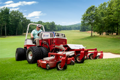 Ventrac Contour Mower - The MJ840 features full rear rollers for even cutting and striping, rear discharge, and a flip-up deck design.