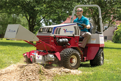 Ventrac 4500Z using KC180 Stump Grinder - The Ventrac Stump Grinder leaves a much smaller and tighter contained area of debris than larger grinders.