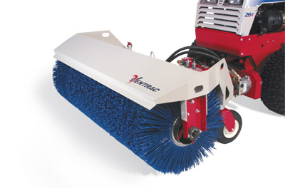 Closeup of Power Broom - Power Broom for Ventrac 4500 rotates in both directions and lifts and pivots hydraulically.