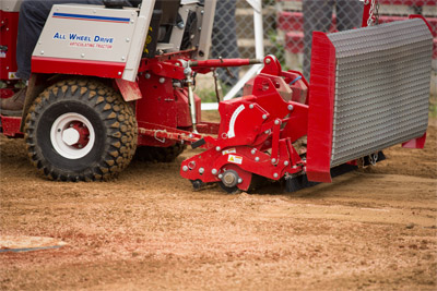 Ventrac Ballpark Groomer with Steel Drag Kit - The optional drag kit for the Ballpark Groomer pictured here with stainless steel mat.
