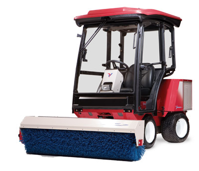Ventrac 3400Y with Power Broom and Cab - The Ventrac 3400Y pictured with the Power Broom and enclosed heated cab.