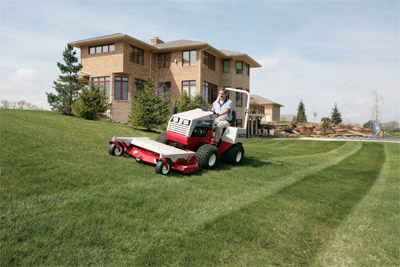 Lawn striping done with HM722 on Ventrac 4500 - Homeowners love the way the Ventrac makes lawns look the way professional lawn services do while offering versatility for a variety of other tasks.