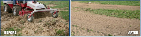 Power Rake on dirt, before & after
