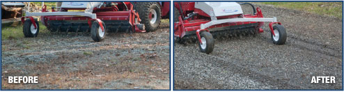 Power Rake on gravel before & after